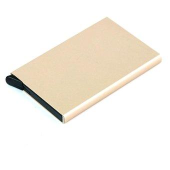 Moonar Unisex Card Case Business Aluminum Credit Card Protector RFID Card Holder (Gold) - intl