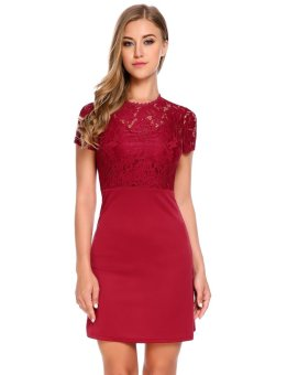 Cyber Women Casual O-Neck Short Sleeve Floral Lace Patchwork Slim Dress ( Wine Red ) - intl