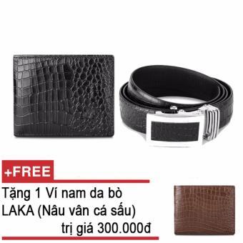 Bộ ví và thắt lưng nam da bò thật LAKA đen cá sấu + Tặng 01 ví da bò LAKA ( Nâu vân cá sấu) trị giá 300.000đ