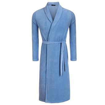 Cyber Avidlove Fashion Men's Robe Kimono Collar Bathrobe Long Sleepwear (Blue)