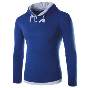 Mens Pullover Casual Hoodie Hooded (Blue) - intl