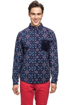 Bellfield Men's Printed Shirt With Pocket Navy