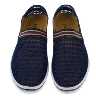 Male Patchwork Elastic Band Mesh Breathable Shoes (Deep Blue) - intl