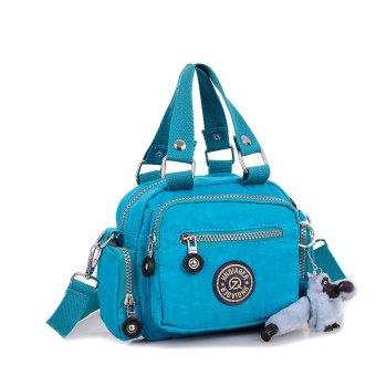 Waterproof Nylon Handbag Shoulder Diagonal Bag Messenger Sky Blue