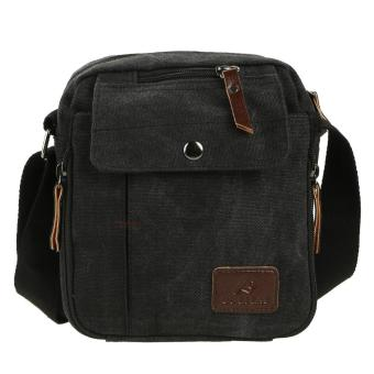 Fashion Men Multi-Function Small Canvas Business Shoulder Handbag (Black) - intl