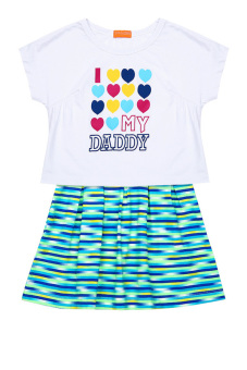 Đầm thun ngắn tay bé gái V.T.A.Kids BG50704T (Trắng xanh)