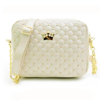 Women Messenger Bags Rivet Chain Shoulder Bag Leather Crossbody Beige - Intl