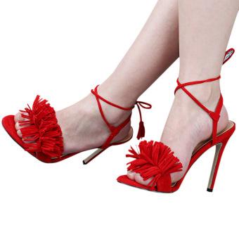 Tassel Lace Up High Heels Open Toe Sandals for Women (Red) - Intl - intl