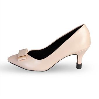 Giày Nữ Gót Nhọn Mũi Đính Nơ HC1339 (Kem).