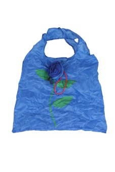 Cute 1Pc Rose Flowers Reusable Folding Shopping Bag Travel Grocery Blue - Intl