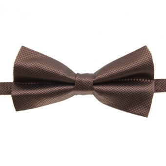 Fashion Men's Tuxedo Bowtie Solid Color Neckwear Adjustable Wedding Party Bow Tie Necktie Pre-Tied Brown - Intl