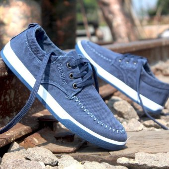 Fashion England Men's Breathable Recreational Shoes Lace up Suede Casual Shoes Blue - intl