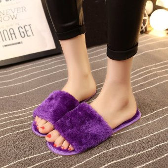Women Home Indoor Open Toe Soft Shoes Mule Slipper Fur Winter Warm Flats Plush Purple - intl