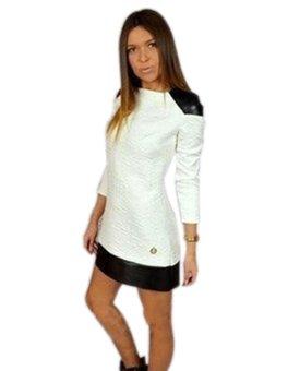 Sunweb New Fashion Women's Elegant Long Sleeve Patchwork Casual Mini Dress - Intl