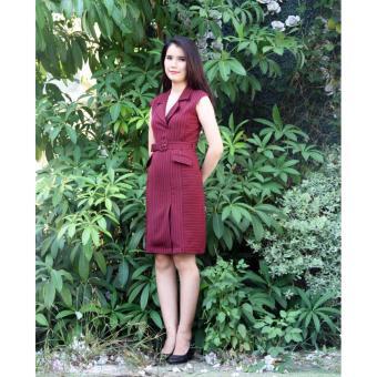 Đầm đỏ cổ Vest thắt dây 18DT36