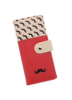LALANG Women's Moustache Beard Zipper Leather Long Purse Wallet Card Watermelon Red - intl
