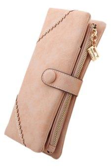 Bluelans Women's Bifold Faux Leather Case Purse Snap Button Wallet Pink (Intl)
