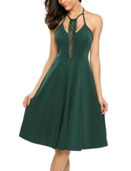 Cyber Women Halter Backless Lace Patchwork A-Line Short Dress ( Green black jasper ) - intl