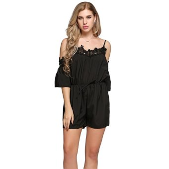 Cyber Women Sexy Spaghetti Strap Half Sleeve High Waist Short Jumpsuit ( Black ) - intl