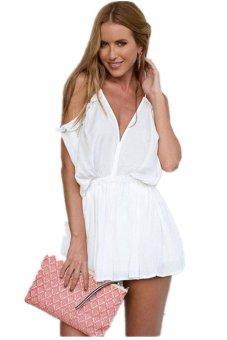 LALANG Jumpsuits V-neck Straps Off Shoulder Short Skirts White - Intl