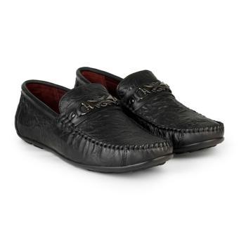 Giày Lười Nam Da Bò Sần Cá Tính HC1218 (Đen)