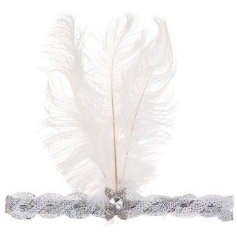 Women Peacock Feather Flapper Headpiece 1920s Vintage Headband Headdress White - intl