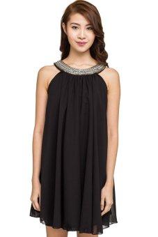 Đầm xòe swing dress dáng yếm New Look (Đen)