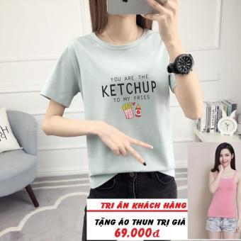 Áo Thun Nữ Xẻ Tà In Hình Ketchup Dễ Thương T&D197 ( Màu Xanh ) + Tặng Áo Thun Hai Dây Cá Tinh