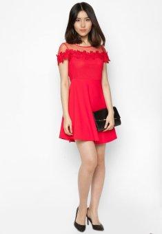 Đầm xòe phối ren thêu thời trang Hoàng Khanh
