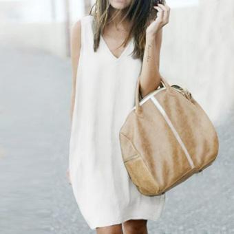 Moonar Fashion Women Sleeveless Loose Casual Dovetail Type Vest Dress M-XL (White) - intl