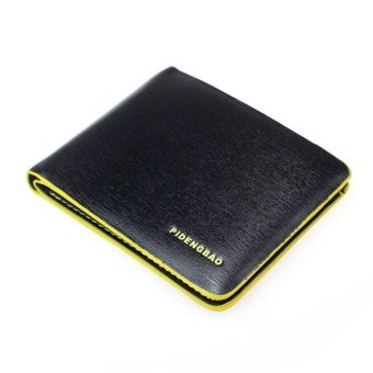 Men Leather Bifold Credit/ID Cards Holder Slim Wallet Yellow/Black