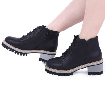 Retro Thick Heel Ankle Boots(Black) - intl