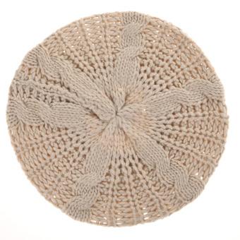 Women Winter Knitted Crochet Hat Beige (Intl)