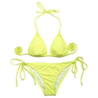 HKS 72325 Sexy Swimsuit Swim Swear Bikini Greenish Yellow - intl