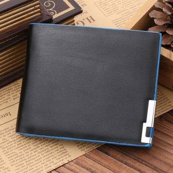 HOT Men Stylish Bifold Business Leather Wallet Card Holder Coin Purse Wallet Bag Blue - intl