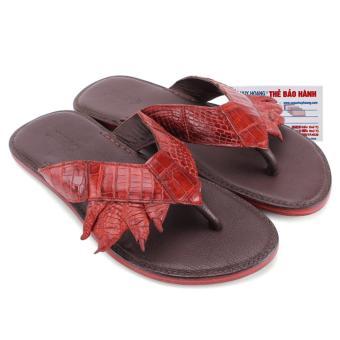 HL7214 - Dép quai kẹp Huy Hoàng da chân cá sấu màu nâu đỏ