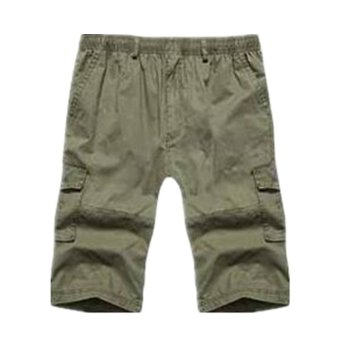 Summer Men's Cargo Pants Multi Pocket Casual Sport Short Pants Large Size(Army Green) - intl