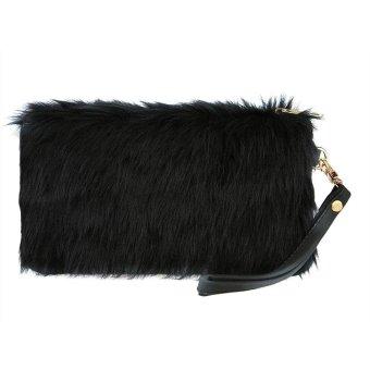 Linemart Fashion Women's Elegant Clutch Bag Faux Fur Handbag Wallet Candy Color Clutch ( Black ) - intl