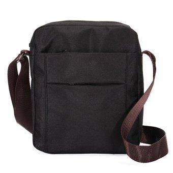 Men Vintage Canvas Shoulder Bag Satchel School Messenger Bag Crossbody Handbag Black - intl
