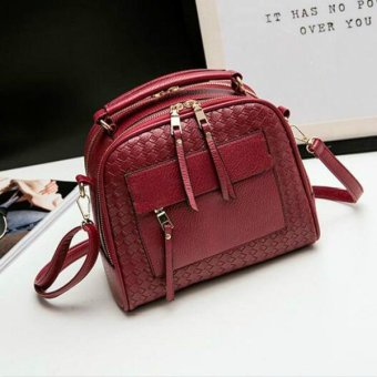Knitting Women Handbag Fashion Weave Shoulder Bag Small Casual Cross Body Bag Retro Totes (Red) - intl