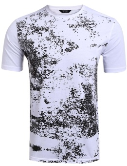 Cyber Men Fashion O-Neck Short Sleeve Printing T-Shirt Top ( White ) - intl