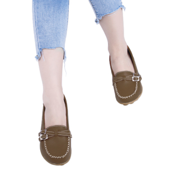 Slip On Skid Resistance Leather Breathable Flat Shoes(Army Green) - intl