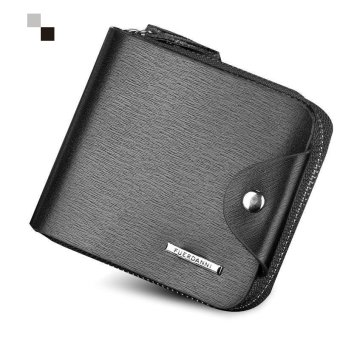 Men Wallet Genius Leather Portfolio Male Clutch Passcard Bag Money Pocket, Black - intl