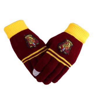 Fancyqube Harry Potter COS knitting touch screen magic gloves Gryffindor fourth school badge gloves - intl