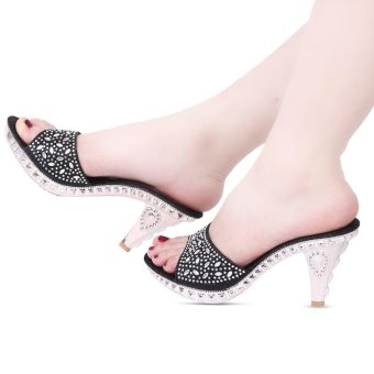 Fashionable Rhinestone Embellishment Open Toe Thick High Heel Slippers For Women(Black) - intl