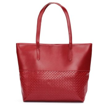 Fashion Women Leather Handbag Shoulder Tote Satchel Large Messenger Bag Purse Wine Red - intl