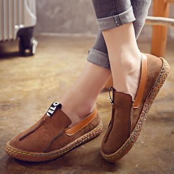 Women Comfortable Hemp Bottom Frisherman Shoes Slip On Zapato Mujer loafer Round Toe espadrilles Flats Shoes - intl