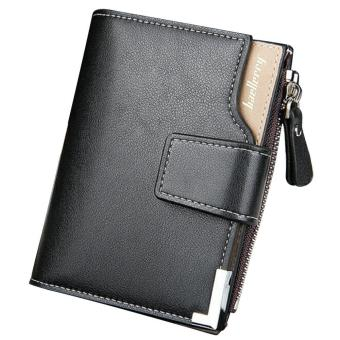 Men Vertical Multipurpose Three Fold Change Credit Cards Holder Wallet PU Leather Magnetic Clasp Zipper Purse Black - intl