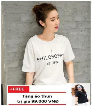 Áo Thun Philosophy Form Rộng K87 + Tặng 1 Áo Thun Trơn Trần Doanh