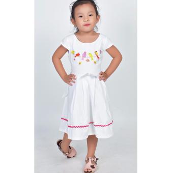 Đầm xòe thêu chim Somy Kids màu trắng